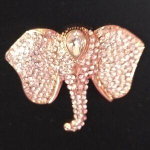 Broche aimantée motif tête d'éléphant strassée en acier inoxydable certi rose gold