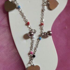 Bracelet de cheville en acier inoxydable motifs coeurs