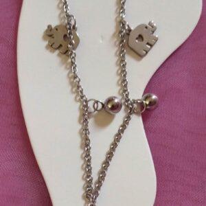 Bracelet de cheville en acier inoxydable motifs éléphants et boules grises