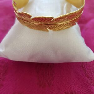 Bracelet feuille en acier inoxydable certi doré