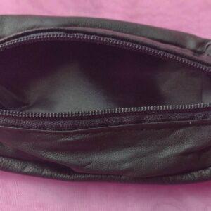 Porte monnaie en cuir en noir